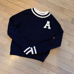 XS Navy Abercrombie sweater with white piping.
